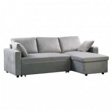 Καναπές Κρεβάτι Γωνία Microfiber Γκρι/Αναστρέψιμος 223x146x80x83