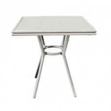 Τραπέζι αλουμίνιου dining /Textilene γυαλί Εκρού 70χ70