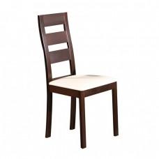 Καρέκλα Οξυά Σκούρο Καρυδί/PVC Εκρού 45x52x97cm
