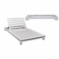 Ξαπλώστρα ξύλινη 2θέσια Λευκή λάκα Οξυά 110x206x18cm