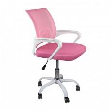 Πολυθρόνα Γραφείου χωρίς Ανάκλιση Άσπρο - Mesh Ροζ BF2101-SC