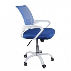Πολυθρόνα Γραφείου με Ανάκλιση Άσπρο - Mesh Μπλε BF2101-SW