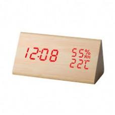 Ρολόι ξύλινο ξυπνητήρι θερμόμερτρο/υγρόμετρο Telco ΕΤ511Α