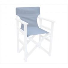 Καρέκλα ξύλινη σκηνοθέτη οξιάς λευκή λάκα μέ πανί (προσφορά)