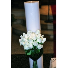 Κερί κωλόνα λευκό στρογγυλό 15x1,50εκ