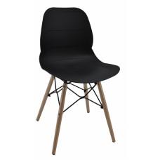 Καρέκλα με μαύρο κάθισμα PP, σχέδιο ανάγλυφες οριζόντιες ρίγες και ξύλινα πόδια