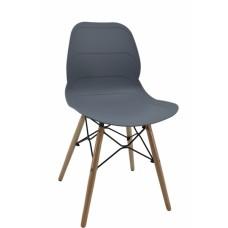Καρέκλα με γκρί κάθισμα PP, σχέδιο ανάγλυφες οριζόντιες ρίγες και ξύλινα πόδια