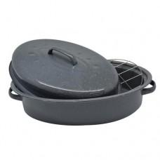 Γάστρα οβάλ 45x35 εμαγιέ φούρνου με καπάκι και σχάρα