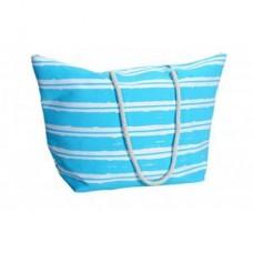 Τσάντα θαλάσσης από καραβόπανο, ριγέ άσπρο και μπλέ χρώμα, 65x24x40
