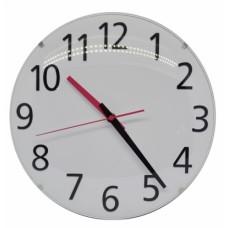 Ρολόι τοίχου πλαστικό στρογγυλό, με άσπρο εσωτερικό και μαύρους αριθμούς