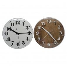 Ρολόι επιτοίχιο στρογγυλό,δύο σχέδια, άσπρο εσωτερικό και μαύρους