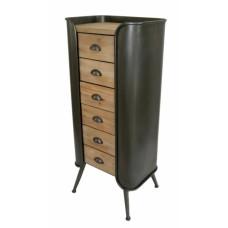 Συρταριέρα με έξι συρτάρια, ξύλινη με συνδιασμό από σίδερο 53,5x38,5x120εκ.