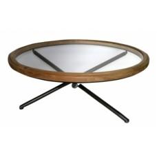 Τραπεζάκι στρογγυλό ξύλινο με γυαλί και μεταλλικά πόδια 100x100x40εκ.