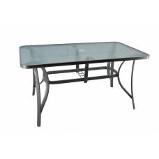 Τραπέζι γκρι μεταλλικό 140x80x70εκ. γυάλινη επιφάνεια και υποδοχή στο κέντρο για ομπρέλα.