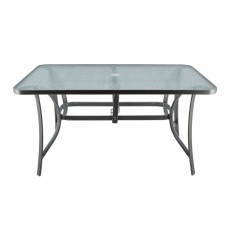 Τραπέζι γκρι μεταλλικό 120x70x70εκ. γυάλινη επιφάνεια και υποδοχή στο κέντρο για ομπρέλα.