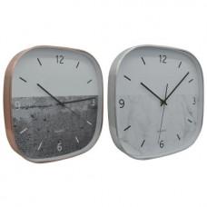 Ρολόι επιτοίχιο ρολόι αλουμινίου 29χ29εκ. τετράγωνο σε ασημί