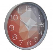 Ρολόι επιτοίχιο στρογγυλό 30εκ. σε γκρί χρώμα το πλαίσιο και σχέδια στο καντράν