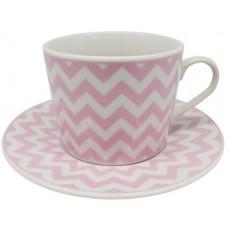 Σετ 6 τεμαχίων φλυτζάνια για τσάι με πιατάκια κατασκευασμένα από λευκή πορσελάνη με σχέδιο