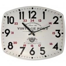 Μεταλλικό ρολόι τοίχου ορθογώνιο σε άσπρο χρώμα 40x33 εκ.