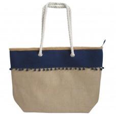 Τσάντα θαλάσσης από λινάτσα σε φυσικό χρώμα