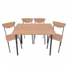 Σετ τραπέζι 110x70x75 εκ. + 4 καρέκλες σε απόχρωση της οξιάς με μαύρο μεταλλικό σκελετό.
