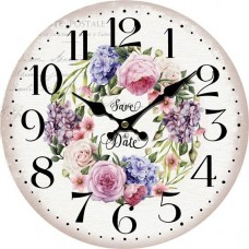 Ξύλινο ρολόι τοίχου στρογγυλό με σχέδιο 34εκ.