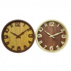 Ρολόι τοίχου στρογγυλό 25εκ. επιτοίχιο σε καφέ και μπεζ χρώμα