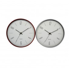 Ρολόι τοίχου στρογγυλό επιτοίχιο ασημί μπορντό χρώμα 29εκ.