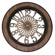 Ρολόι τοίχου πλαστικό 50,5εκ. σε καφέ και μαύρο αντικέ χρώμα
