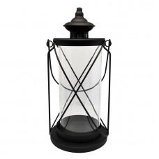 Φαναράκι στρογγυλό μεταλλικό σε μαύρο ματ χρώμα.16x34εκ.