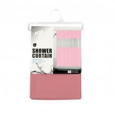 Κουρτίνα μπάνιου πλαστική διάφανο ροζ - λευκό 3D 180χ200υψ.