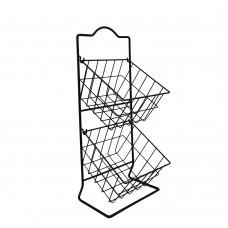 Φρουτιέρα μεταλλική, με δύο κρεμαστά καλάθια 23,5x23x55εκ.