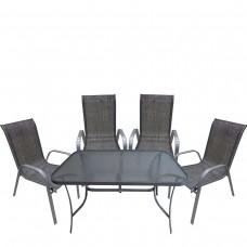 Σέτ 5τεμαχίων 1τραπέζι 140χ70χ70εκ. & 4καρέκλες μεταλικές γκρί χρώμα